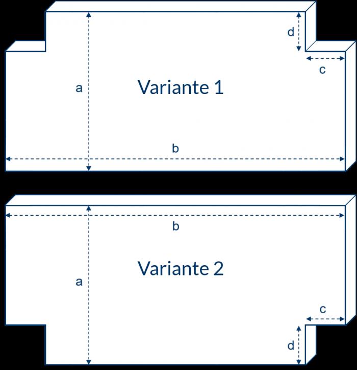 Matratze mit zwei Eckausschnitten