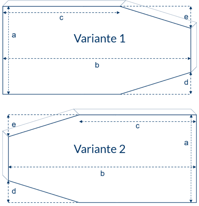 Matratze mit zwei schrägen Eckabschnitten an der Seite
